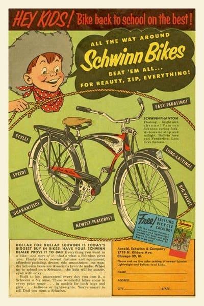 Schwinn Bicycle BS3 - Framed Vintage Advertising Artwork from Interior Elements, Eagle WI