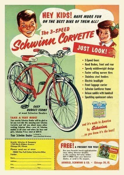 Schwinn Bicycle BS5 - Framed Vintage Advertising Artwork from Interior Elements, Eagle WI