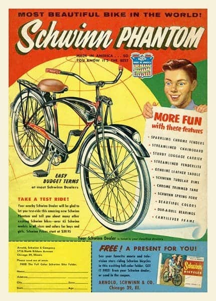 Schwinn Bicycle BS6 - Framed Vintage Advertising Artwork from Interior Elements, Eagle WI