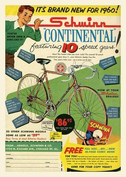 Bicycle Schwinn BS1 - Framed Vintage Advertising Artwork from Interior Elements, Eagle WI - Framed Vintage Artwork from Interior Elements, Eagle WI