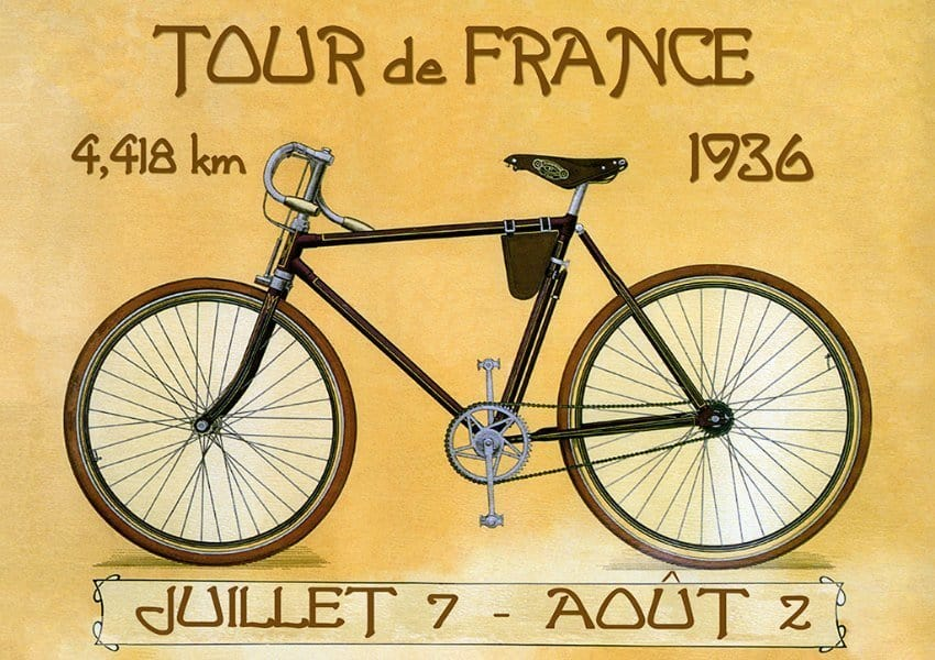 Bicycle Tour de France BTTF - Framed Vintage Artwork from Interior Elements, Eagle WI