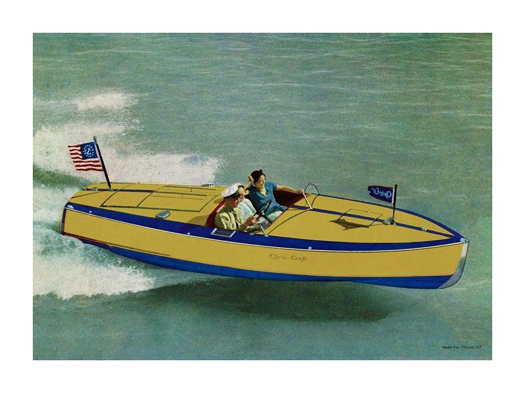 Boating Chris Craft 1937 BCCP1 - Framed Vintage Nautical & Boat Artwork from Interior Elements, Eagle WI