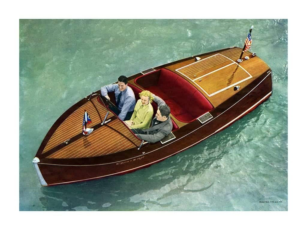 Boating Chris Craft 1937 BCCP11 - Framed Vintage Nautical & Boat Artwork from Interior Elements, Eagle WI