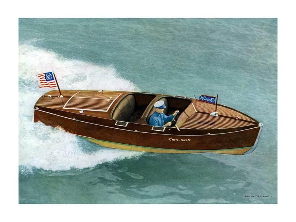 Boating Chris Craft 1937 BCCP12 - Framed Vintage Nautical & Boat Artwork from Interior Elements, Eagle WI