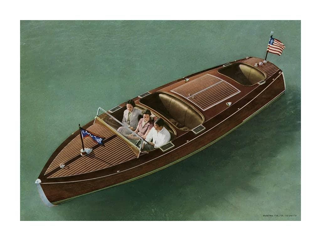 Boating Chris Craft 1937 BCCP3 - Framed Vintage Nautical & Boat Artwork from Interior Elements, Eagle WI