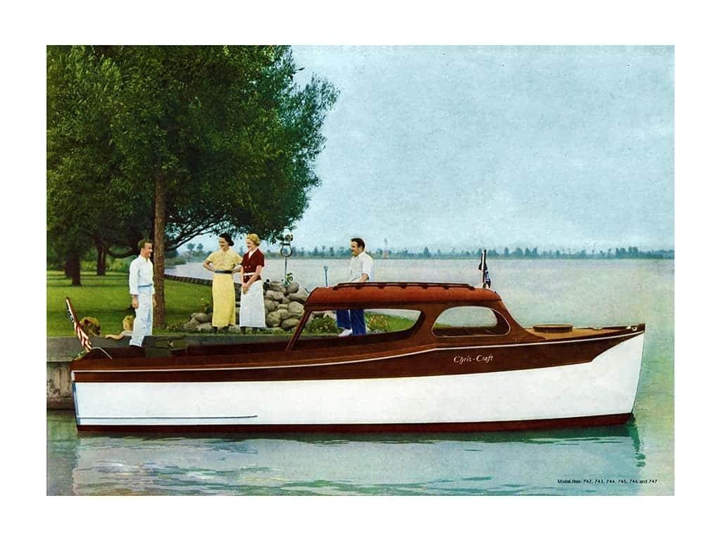 Boating Chris Craft 1937 BCCP7 - Framed Vintage Nautical & Boat Artwork from Interior Elements, Eagle WI