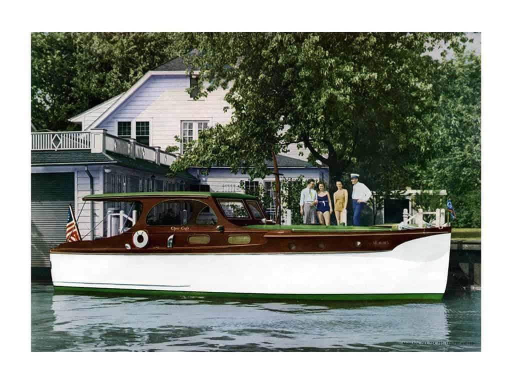 Boating Chris Craft 1937 BCCP9 - Framed Vintage Nautical & Boat Artwork from Interior Elements, Eagle WI