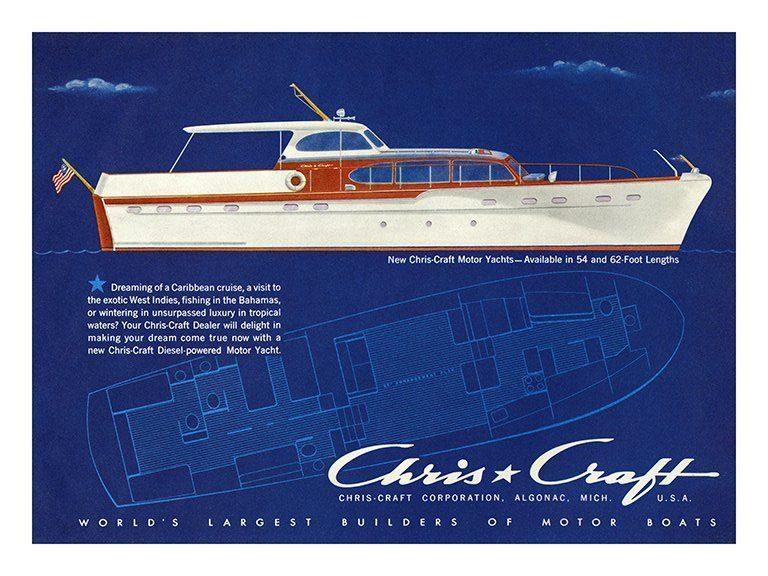 Boating Chris Craft BBCC1 - Framed Vintage Nautical & Boat Artwork from Interior Elements, Eagle WI