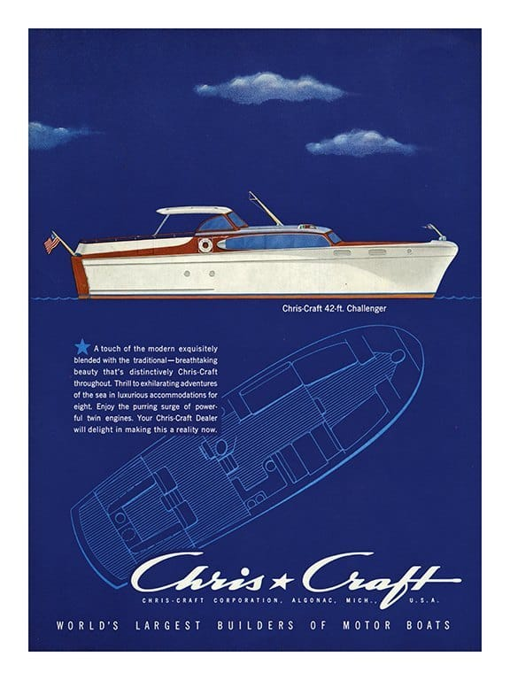Boating Chris Craft BBCC2 - Framed Vintage Nautical & Boat Artwork from Interior Elements, Eagle WI