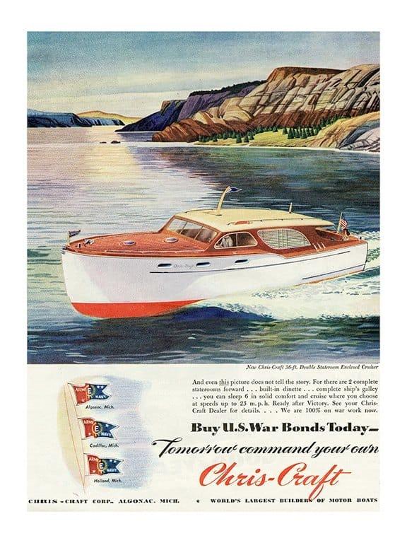 Boating Chris Craft BCCA1 - Framed Vintage Nautical & Boat Artwork from Interior Elements, Eagle WI