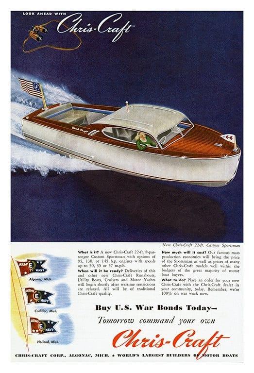 Boating Chris Craft BCCA10 - Framed Vintage Nautical & Boat Artwork from Interior Elements, Eagle WI