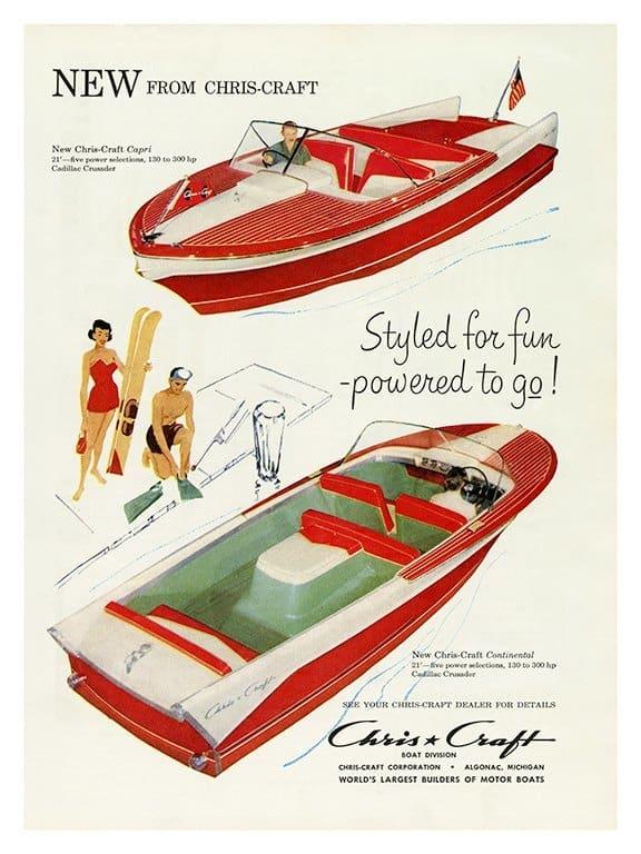Boating Chris Craft BCCA12 - Framed Vintage Nautical & Boat Artwork from Interior Elements, Eagle WI