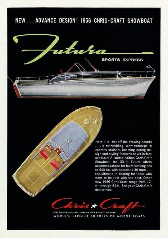 Boating Chris Craft BCCA13 - Framed Vintage Nautical & Boat Artwork from Interior Elements, Eagle WI