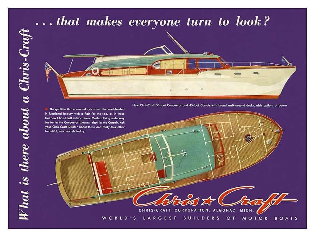 Boating Chris Craft BCCA14 - Framed Vintage Nautical & Boat Artwork from Interior Elements, Eagle WI