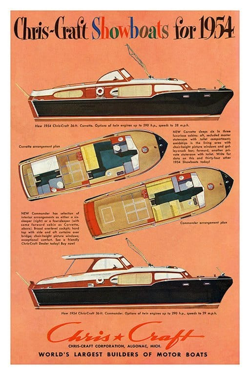 Boating Chris Craft BCCA15 - Framed Vintage Nautical & Boat Artwork from Interior Elements, Eagle WI