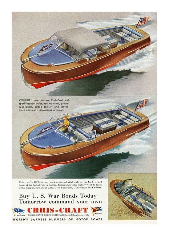Boating Chris Craft BCCA2 - Framed Vintage Nautical & Boat Artwork from Interior Elements, Eagle WI