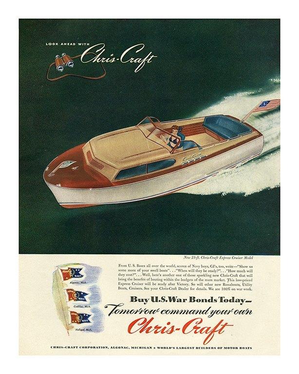 Boating Chris Craft BCCA3 - Framed Vintage Nautical & Boat Artwork from Interior Elements, Eagle WI