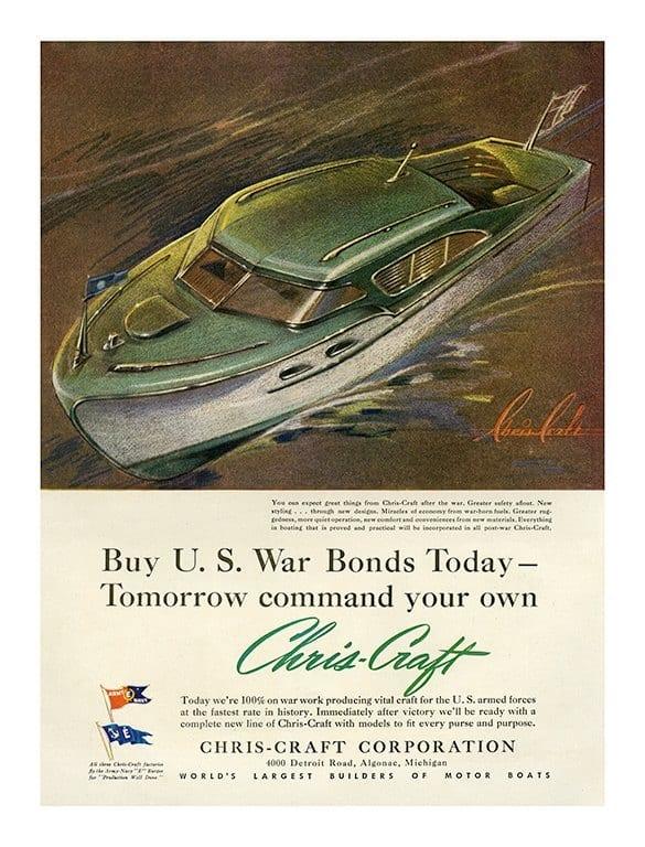 Boating Chris Craft BCCA4 - Framed Vintage Nautical & Boat Artwork from Interior Elements, Eagle WI