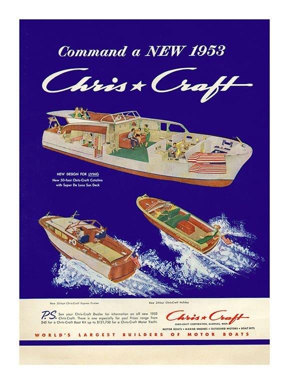 Boating Chris Craft BCCA5 - Framed Vintage Nautical & Boat Artwork from Interior Elements, Eagle WI