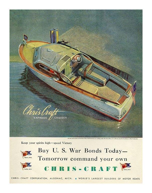 Boating Chris Craft BCCA6 - Framed Vintage Nautical & Boat Artwork from Interior Elements, Eagle WI