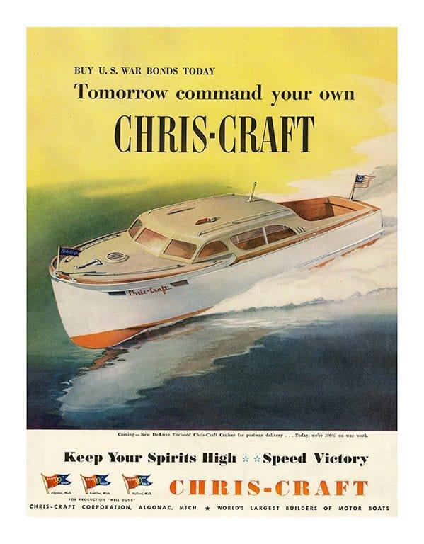 Boating Chris Craft BCCA7 - Framed Vintage Nautical & Boat Artwork from Interior Elements, Eagle WI
