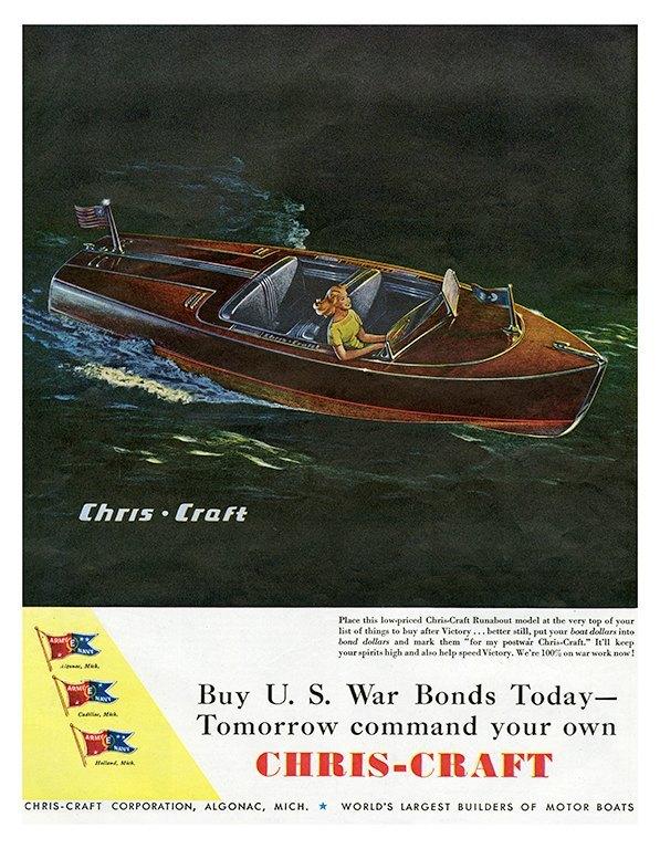 Boating Chris Craft BCCA8 - Framed Vintage Nautical & Boat Artwork from Interior Elements, Eagle WI