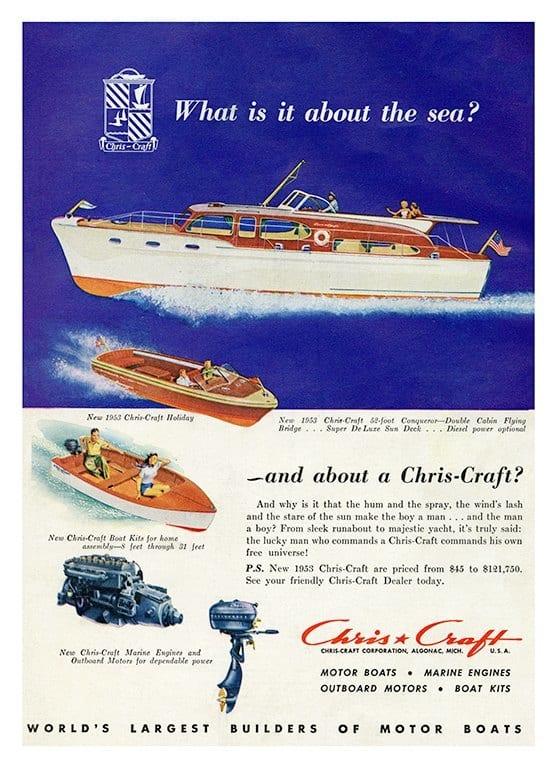 Boating Chris Craft BCCA9 - Framed Vintage Nautical & Boat Artwork from Interior Elements, Eagle WI