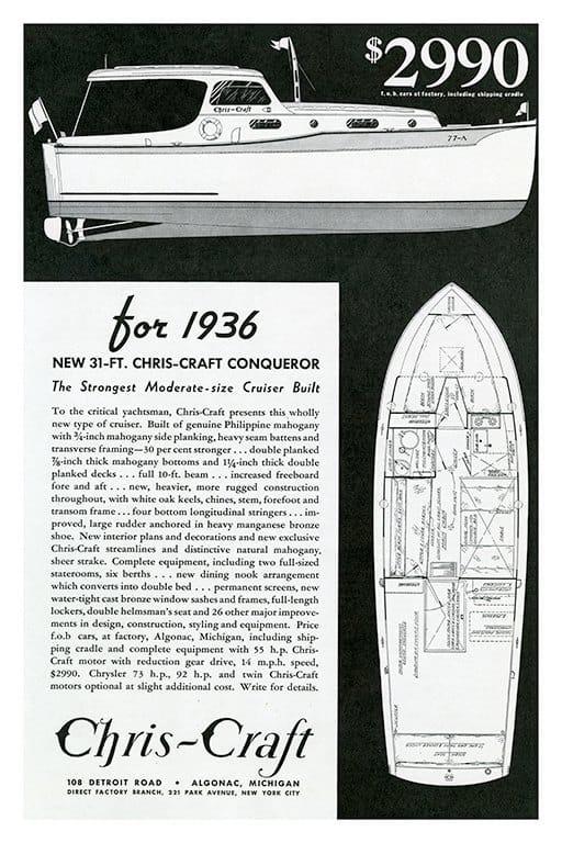 Boating Chris Craft BCCABW2 - Framed Vintage Nautical & Boat Artwork from Interior Elements, Eagle WI