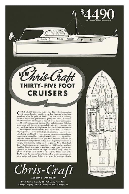 Boating Chris Craft BCCABW3 - Framed Vintage Nautical & Boat Artwork from Interior Elements, Eagle WI