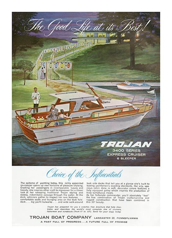 Boating Trojan BT - Framed Vintage Artwork from Interior Elements, Eagle WI