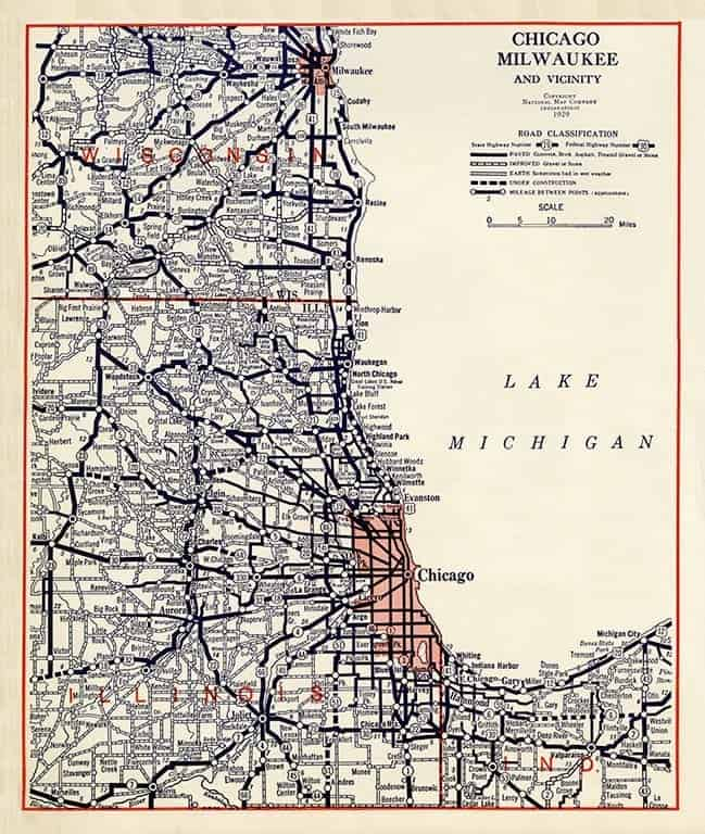 Chicago Milwaukee Road MAP MCM - Framed Antique Map / Artwork from Interior Elements, Eagle WI