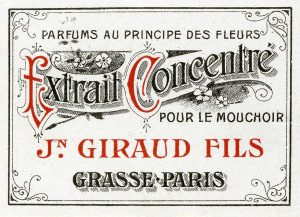 Cosmetic Label - Extrait Concentre CL3 - Framed Vintage Artwork from Interior Elements, Eagle WI