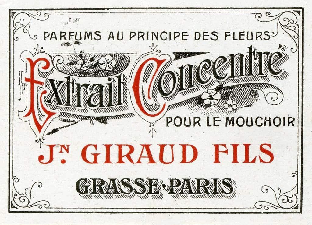 Cosmetic Label - Extrait Concentre CL3 - Framed Vintage Artwork from Interior Elements, Eagle WI