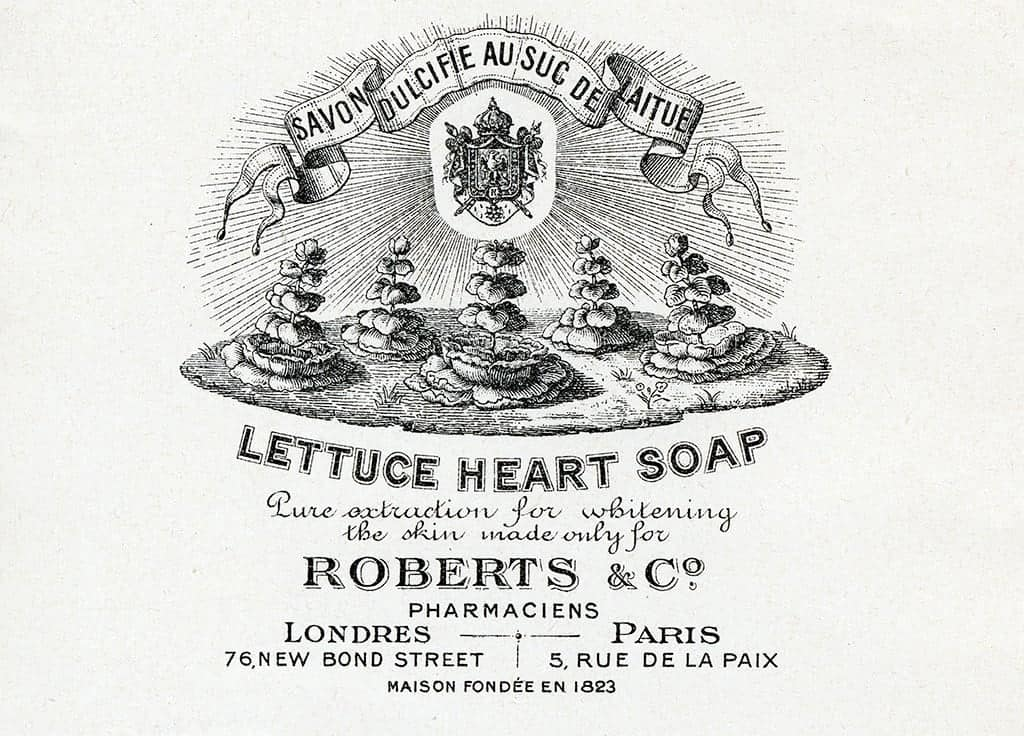 Cosmetic Label - Lettuce Heart Soap CL5 - Framed Vintage Artwork from Interior Elements, Eagle WI