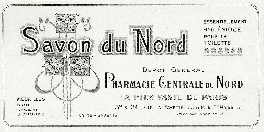 Cosmetic Label - Savon du Nord CL6 - Framed Vintage Artwork from Interior Elements, Eagle WI