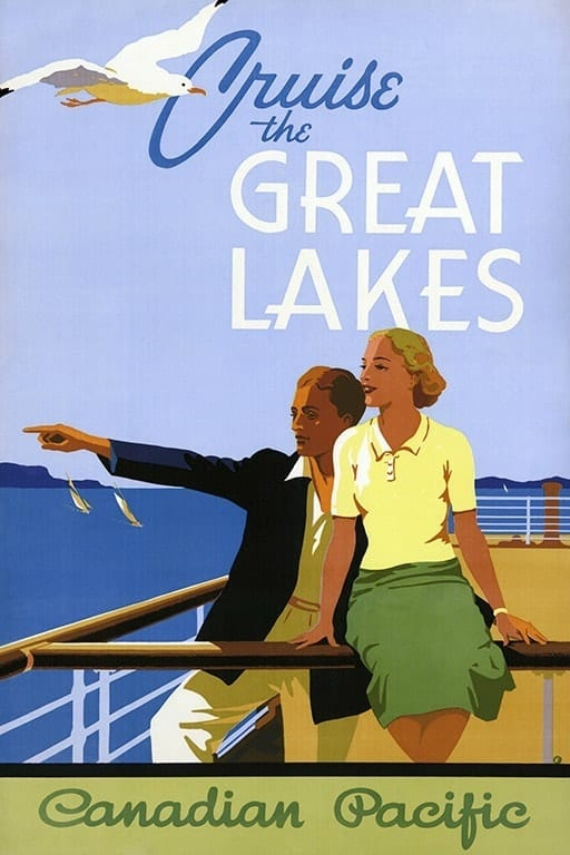 Cruise the Great Lakes TR1 - Framed Vintage Nautical Artwork from Interior Elements, Eagle WI