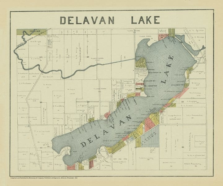 Delavan Lake 1921 PMADel - Framed Antique Map / Artwork from Interior Elements, Eagle WI