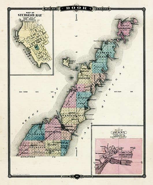 Door County Map MDC - Framed Antique Map / Artwork from Interior Elements, Eagle WI