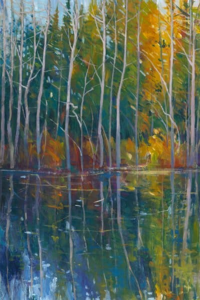 Fall Trees Reflection SSFR2 - Framed Scenery Artwork from Interior Elements, Eagle WI