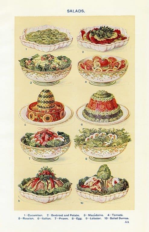 Food - Salads BFS1 - Framed Vintage Artwork from Interior Elements, Eagle WI