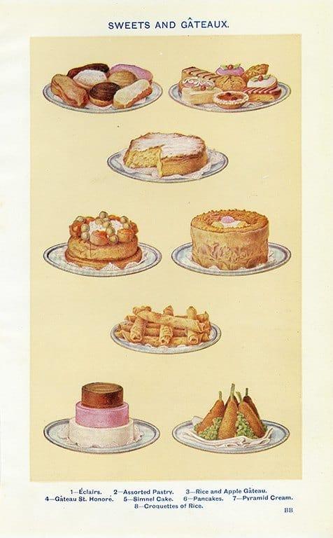 Food - Sweets & Gateaux BFSG - Framed Vintage Artwork from Interior Elements, Eagle WI