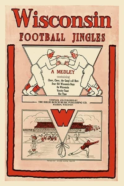 Football Wisconsin WFJ - Framed Vintage Artwork from Interior Elements, Eagle WI