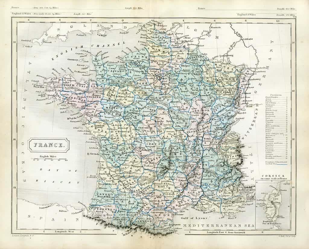 France Map MF - Framed Antique Map / Artwork from Interior Elements, Eagle WI