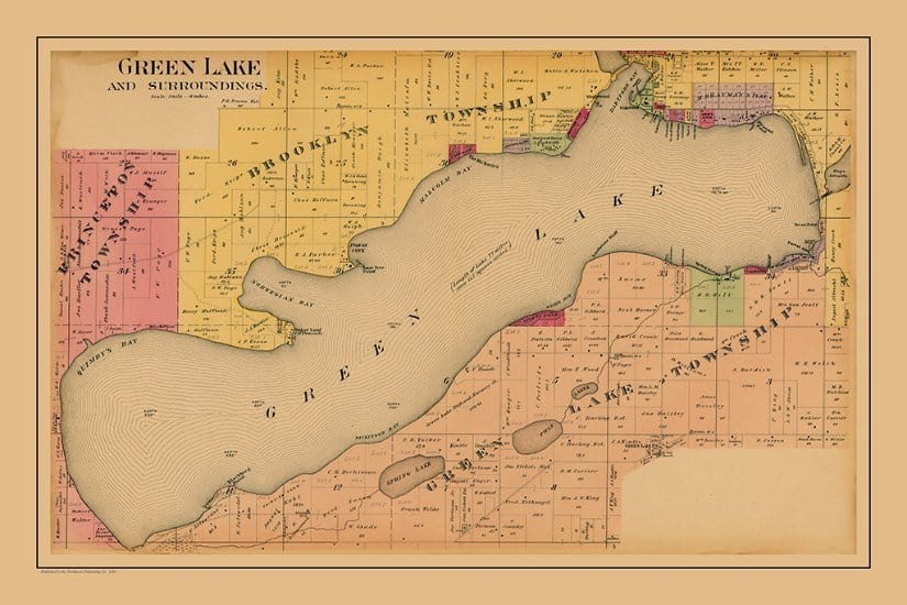 Green Lake PMGL1 - Framed Antique Map / Artwork from Interior Elements, Eagle WI