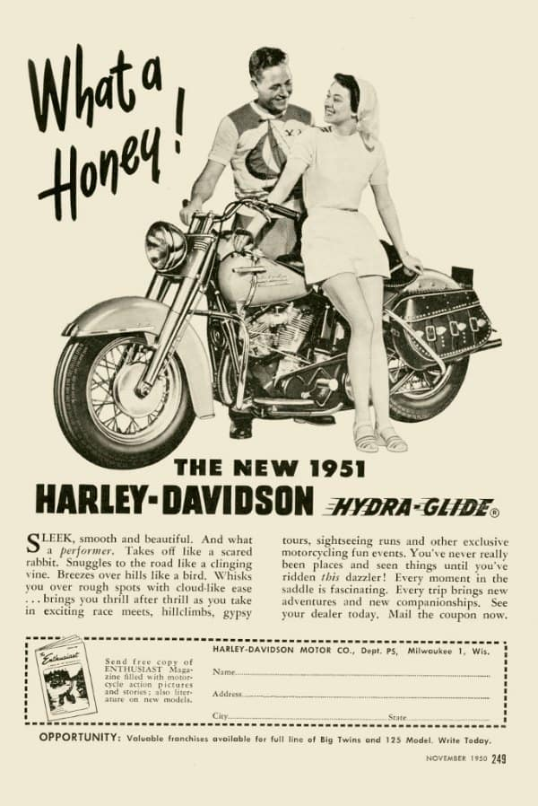 Harley Motorcycle Ad HM1 - Framed Vintage Advertising Artwork from Interior Elements, Eagle WI