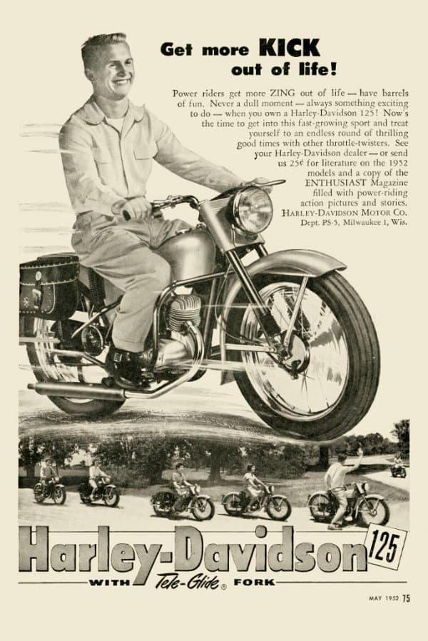 Harley Motorcycle Ad HM2 - Framed Vintage Advertising Artwork from Interior Elements, Eagle WI