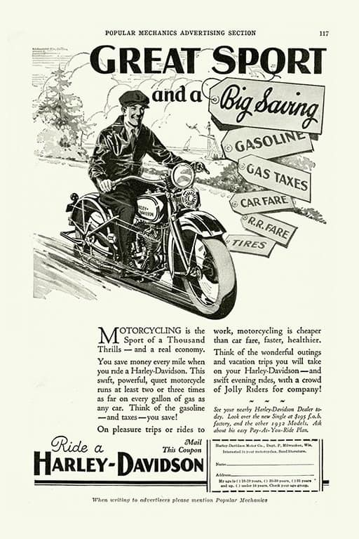 Harley Motorcycle Ad HM3 - Framed Vintage Advertising Artwork from Interior Elements, Eagle WI