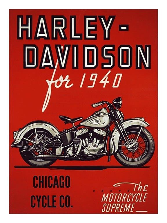 Harley Motorcycle Ad HM4 - Framed Vintage Advertising Artwork from Interior Elements, Eagle WI