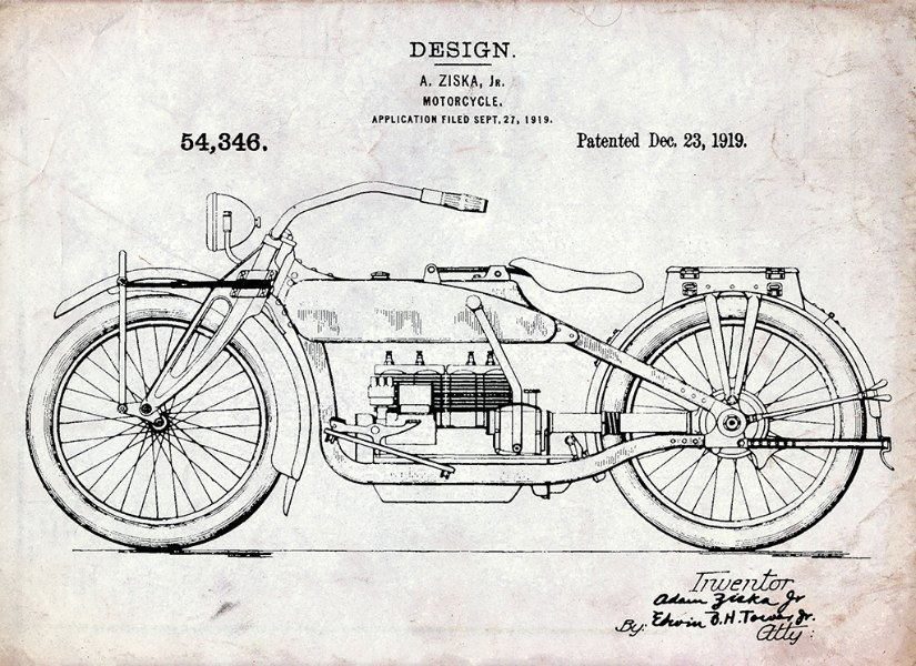Harley Motorcycle Patent 1919 HMP1 - Framed Vintage Artwork from Interior Elements, Eagle WI