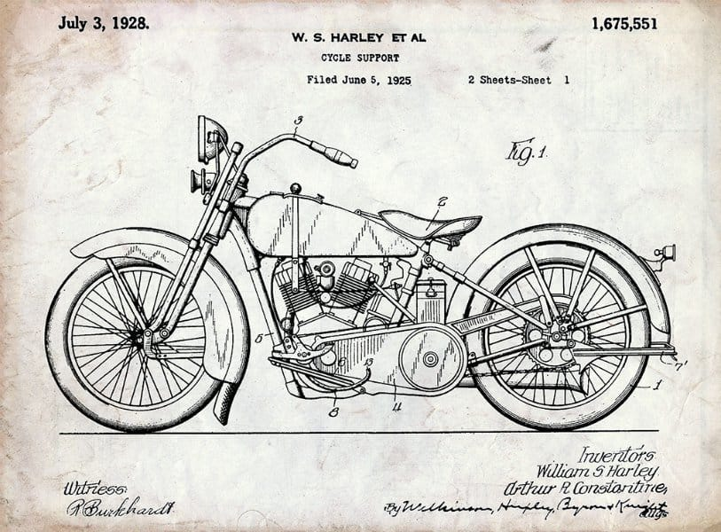 Harley Motorcycle Patent 1928 HMP3 - Framed Vintage Artwork from Interior Elements, Eagle WI